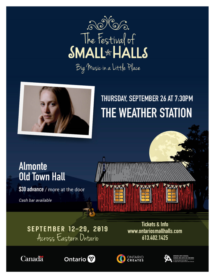 The Weather Station concert poster for September 2019 in Almonte